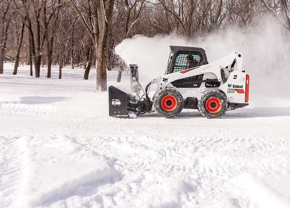 Bobcat snowblower removing snow